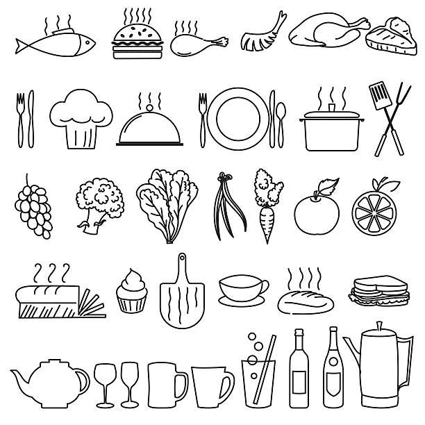 stockillustraties, clipart, cartoons en iconen met thin line art restaurant and food industry icons - gedekte tafel