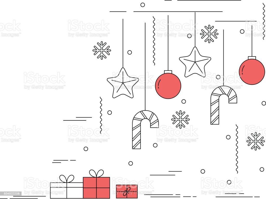 Estilo de linha fina arte design ilustração de Natal - ilustração de arte em vetor