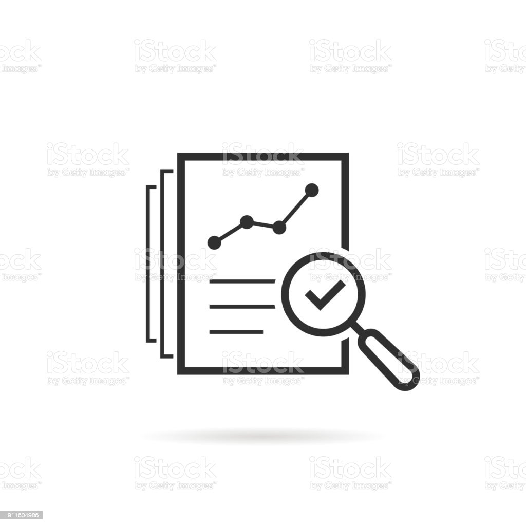 thin line assess icon like review audit risk vector art illustration
