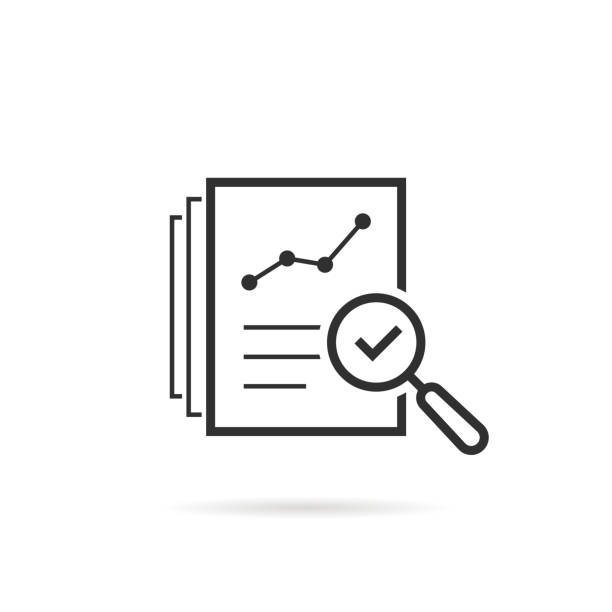 thin line assess icon like review audit risk - evaluation stock illustrations