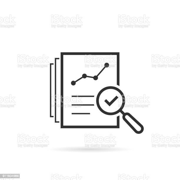 Thin Line Assess Icon Like Review Audit Risk — стоковая векторная графика и другие изображения на тему Анализировать