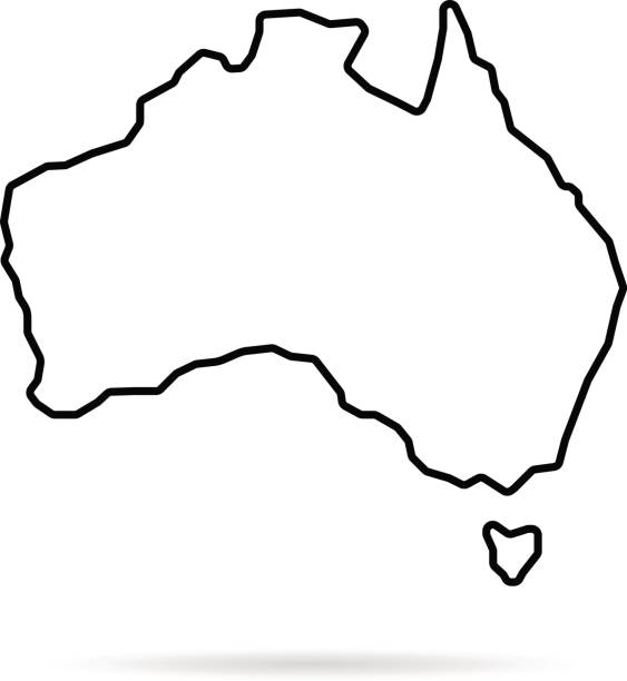thin line australia map with shadow vector art illustration