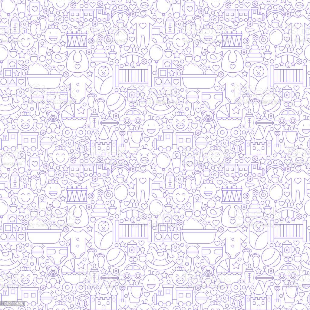 Fine ligne bébé motif uniforme blanc - Illustration vectorielle