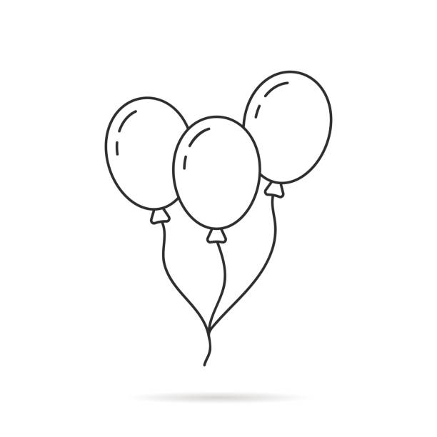 thin line balloon icon with shadow - anniversary clipart stock illustrations