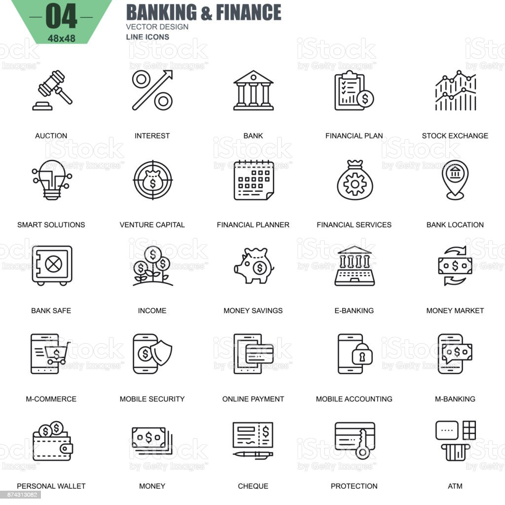 Thin line banking and finance icons set for website vector art illustration