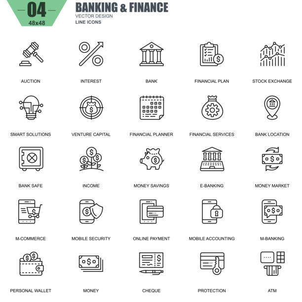 Thin line banking and finance icons set for website Thin line banking and finance icons set for website and mobile site and apps. Contains such Icons as Bank, Money, Financial Plan, M-commerce. 48x48 Pixel Perfect. Editable Stroke. Vector illustration. bank stock illustrations