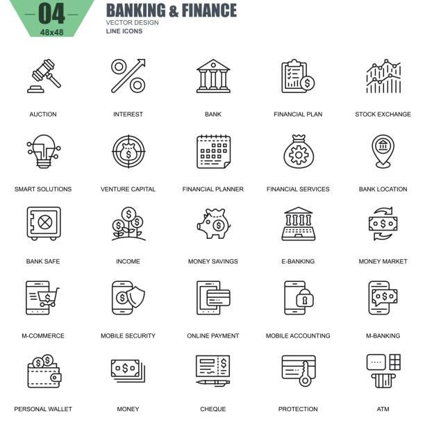 ilustraciones, imágenes clip art, dibujos animados e iconos de stock de delgada línea banca y finanzas los iconos de sitio web - asesor financiero