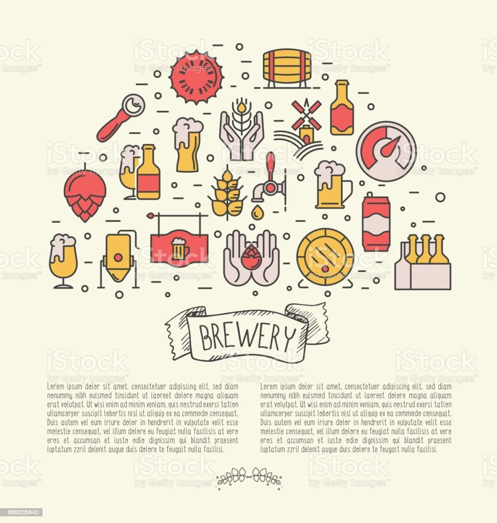 Conceito de faixa de linha fina para fábrica de cerveja e cerveja de outubro festival. Ilustração em vetor moderno. - ilustração de arte em vetor