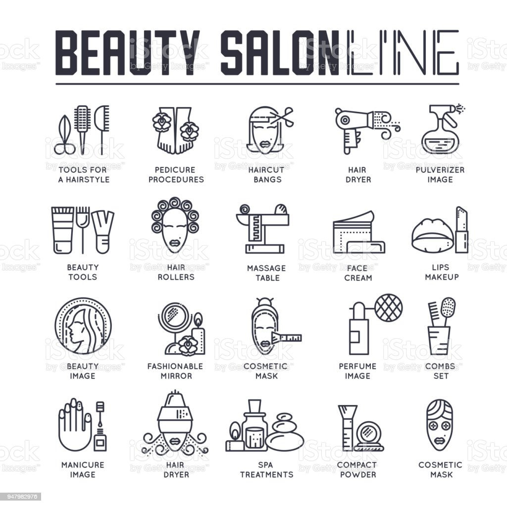 Thin line beauty salon with assortment of cosmetology and beauty design.  Flat outline equipment in beauty salon vector illustration concept vector art illustration