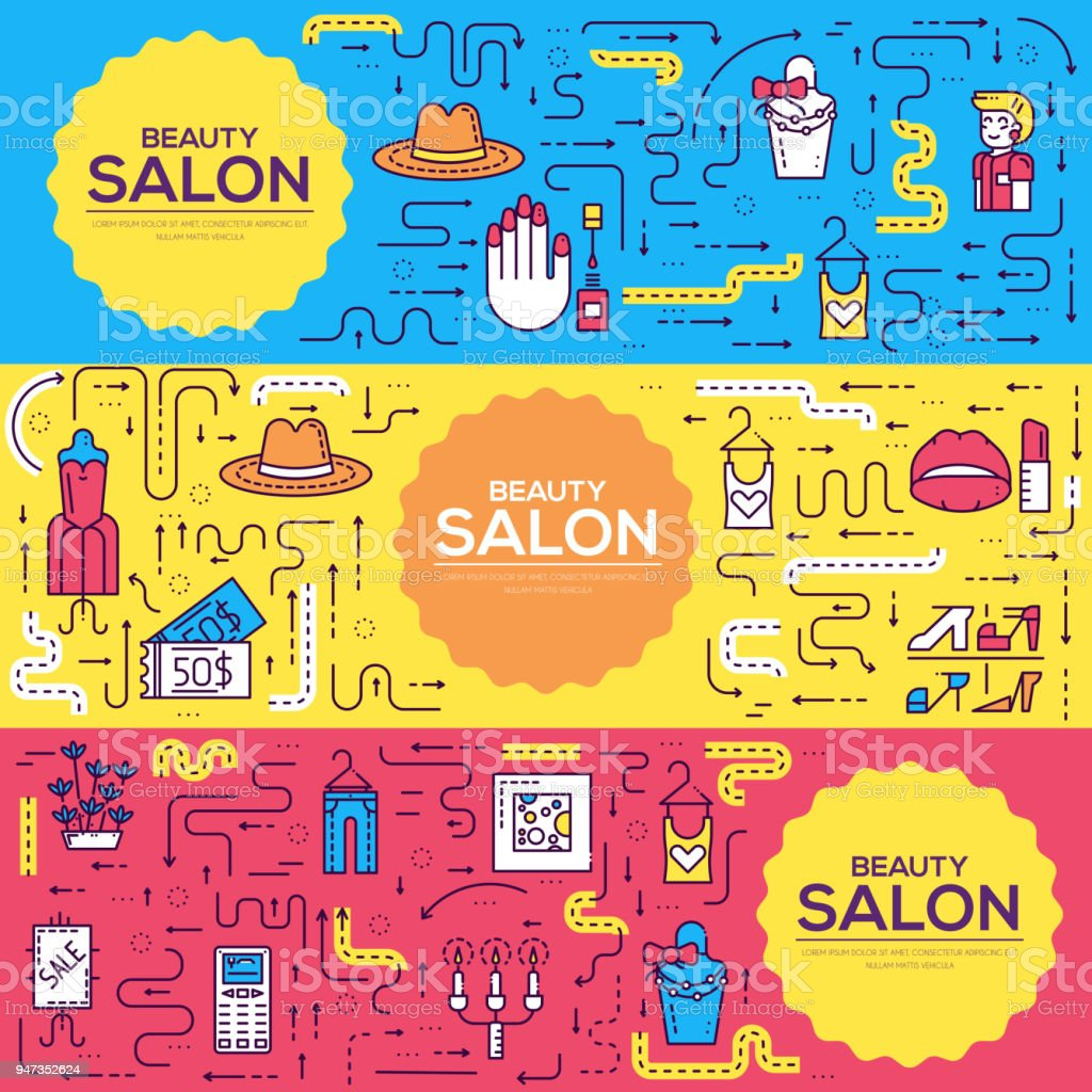 Thin line Beauty salon with assortment vector brochure cards set.  Cosmetology template of flyear, magazines, poster, book cover, banners. Outline equipmen invitation concept vector art illustration