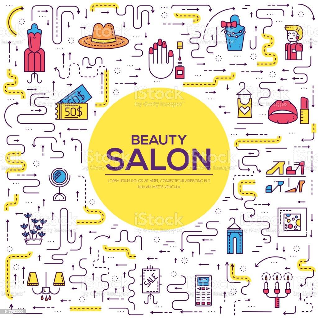 Dünne Linie Beautysalon Mit Sortiment Vektor Broschüre Karten ...