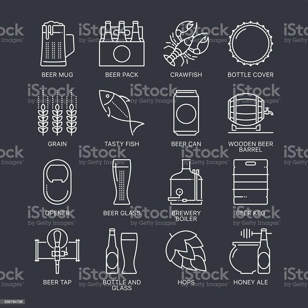 Dünne Linie Bier-Konzept. Webgrafiken lineare Symbole set. – Vektorgrafik