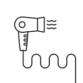 thin line black hair dryer simple icon