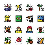 Thin line Brazil icons vector illustration
