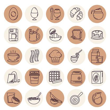 Thin Line Breakfast Icon Set