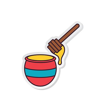 Thin Line Breakfast Icon Sticker - Honey