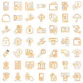 Set Of Financial concepts icons in thin line flat design style. Money, payments and  technology.