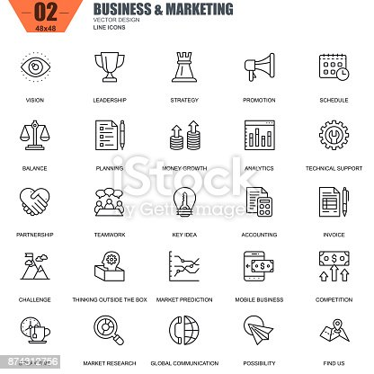 Thin line business and marketing icons set for website and mobile site and apps. Contains such Icons as Leadership, Vision, Accounting. 48x48 Pixel Perfect. Editable Stroke. Vector illustration.