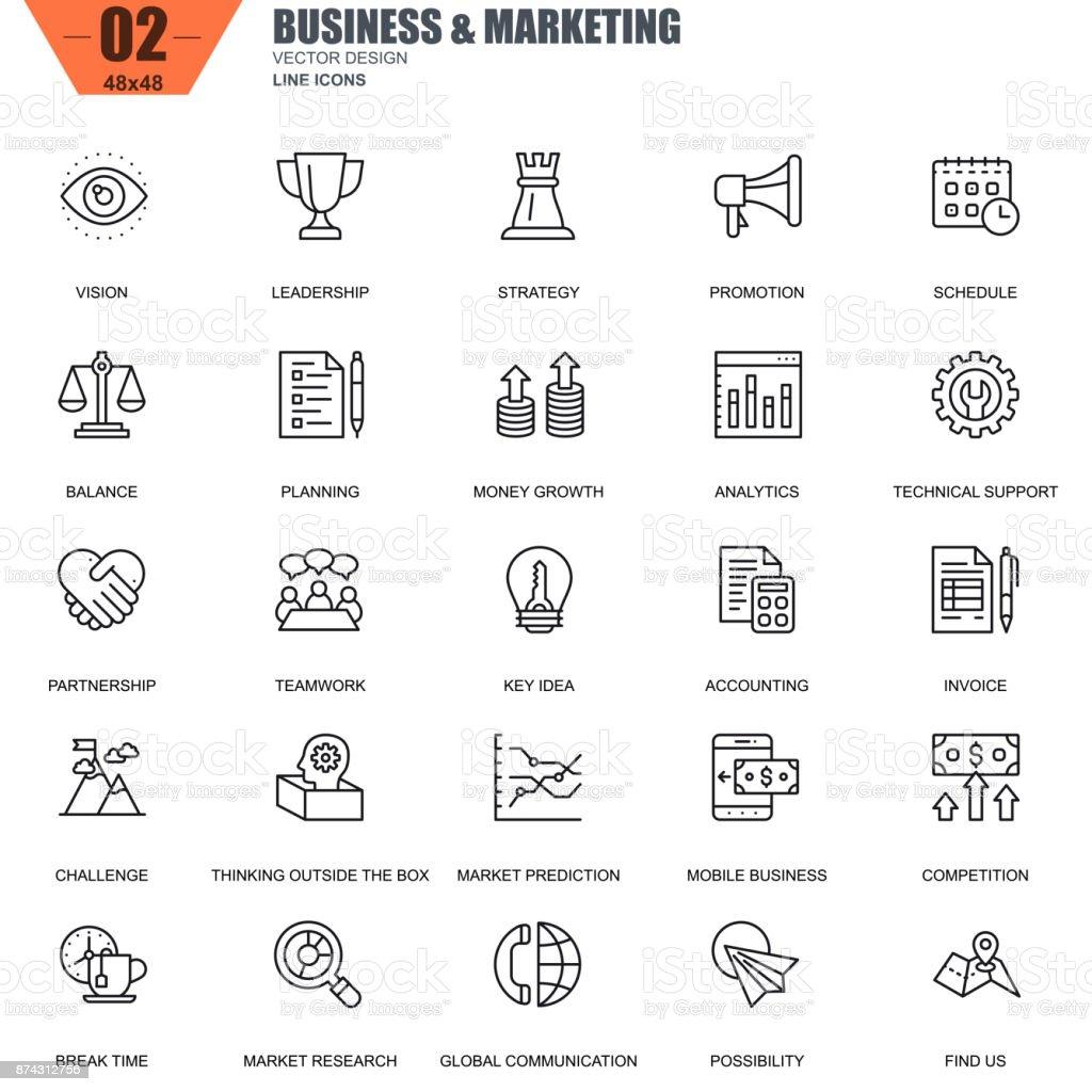 Mince ligne d'affaires et de la commercialisation des set d'icônes pour site Web - Illustration vectorielle