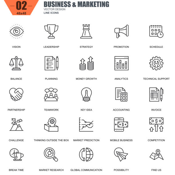 thin line business and marketing icons set for website - business icons stock illustrations, clip art, cartoons, & icons