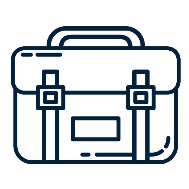 stockillustraties, clipart, cartoons en iconen met dunne lijn business pictogram werkmap - schooltas
