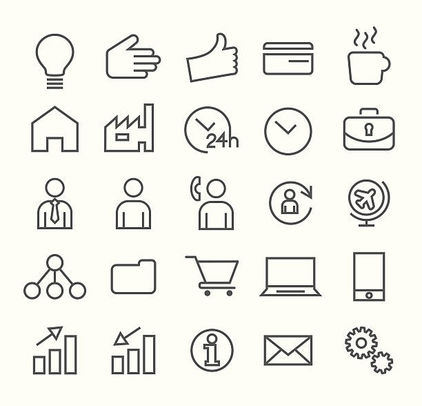 stockillustraties, clipart, cartoons en iconen met thin line business icons on white background. - new world