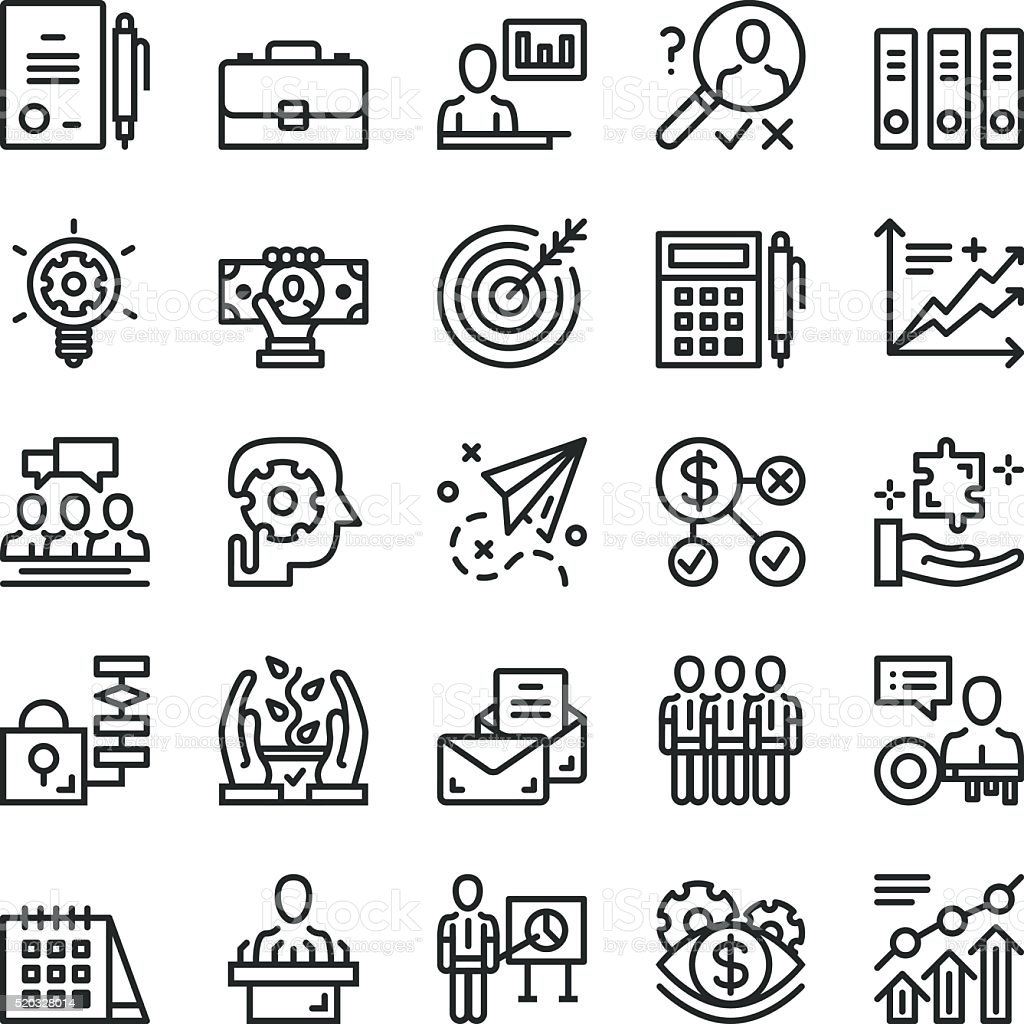 Thin line business icons set. Web icons. Black vector icons vector art illustration