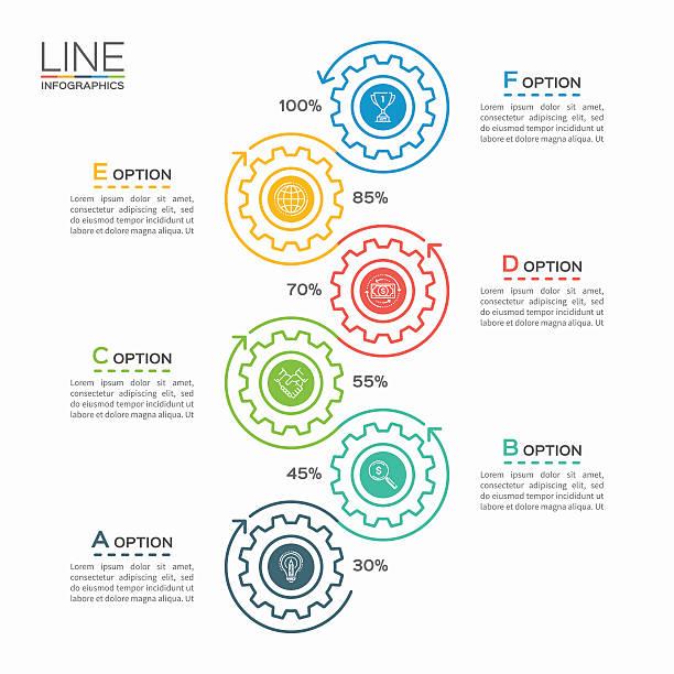 thin line business infographic template with gears 6 steps - oś czasu pomoc wizualna stock illustrations