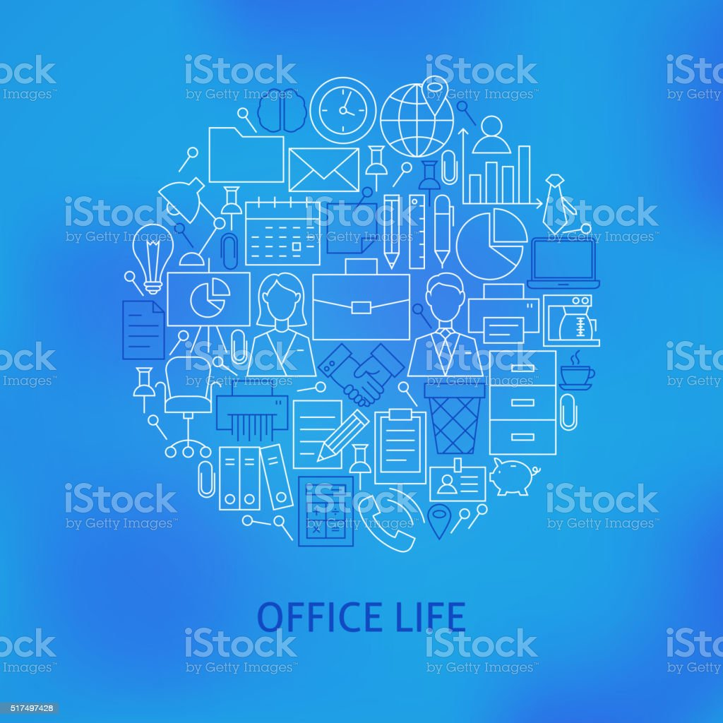 Thin Line Business Office Life Icons Set Circle Concept vector art illustration