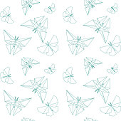 Thin Line Butterfly Paper Origami Style. Vector Seamless Pattern Paper Origami.
