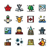 Thin line Canada icons set, vector illustration