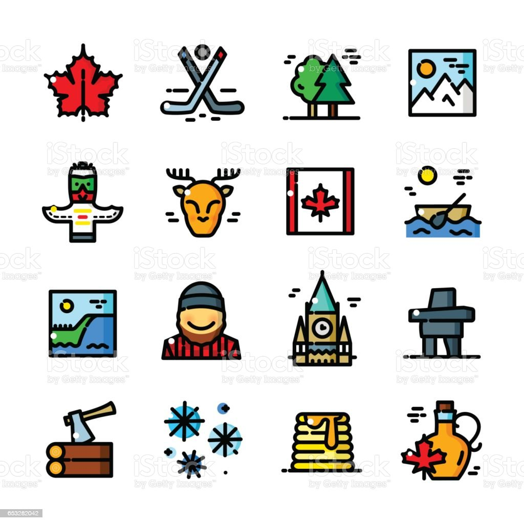Thin line Canada icons set, vector illustration vector art illustration