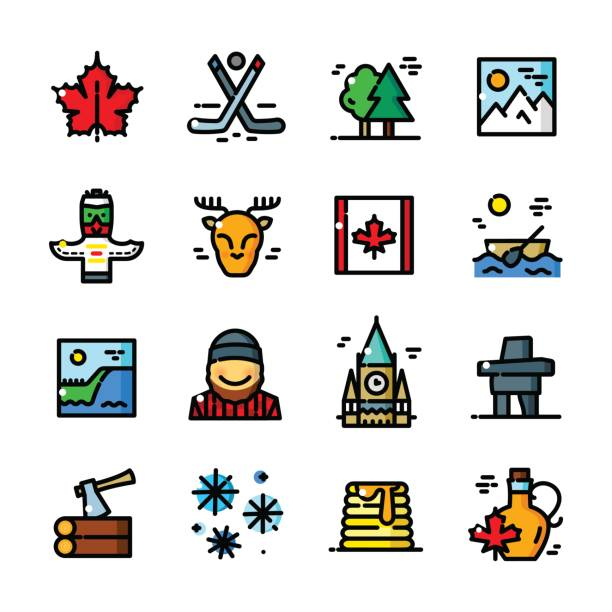 Thin line Canada icons set, vector illustration Thin line Canada icons set, Canadian Symbols outline vector illustration maple syrup stock illustrations