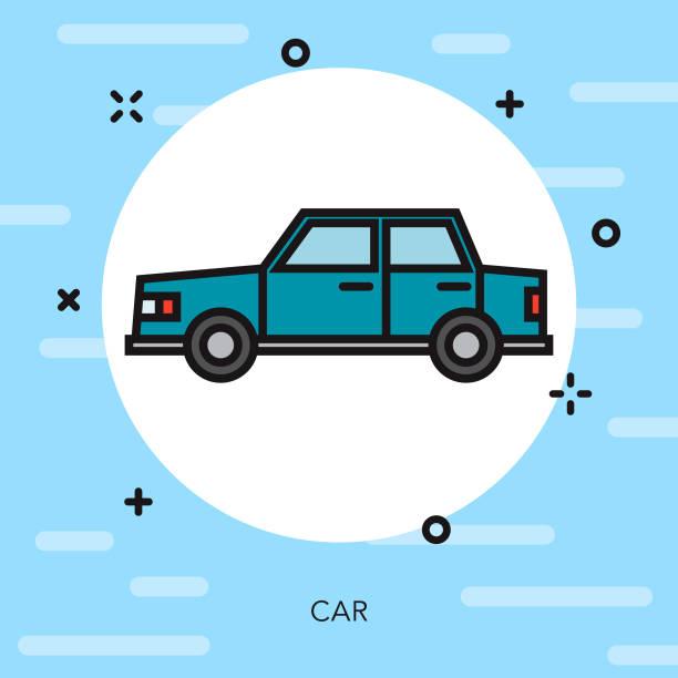 Thin Line Car Service Icon vector art illustration