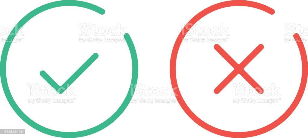 996cca14cee Thin line check mark icons. Green tick and red cross checkmarks flat line  icons set