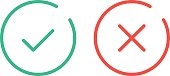 Thin line check mark icons. Green tick and red cross checkmarks flat line icons set. Vector illustration