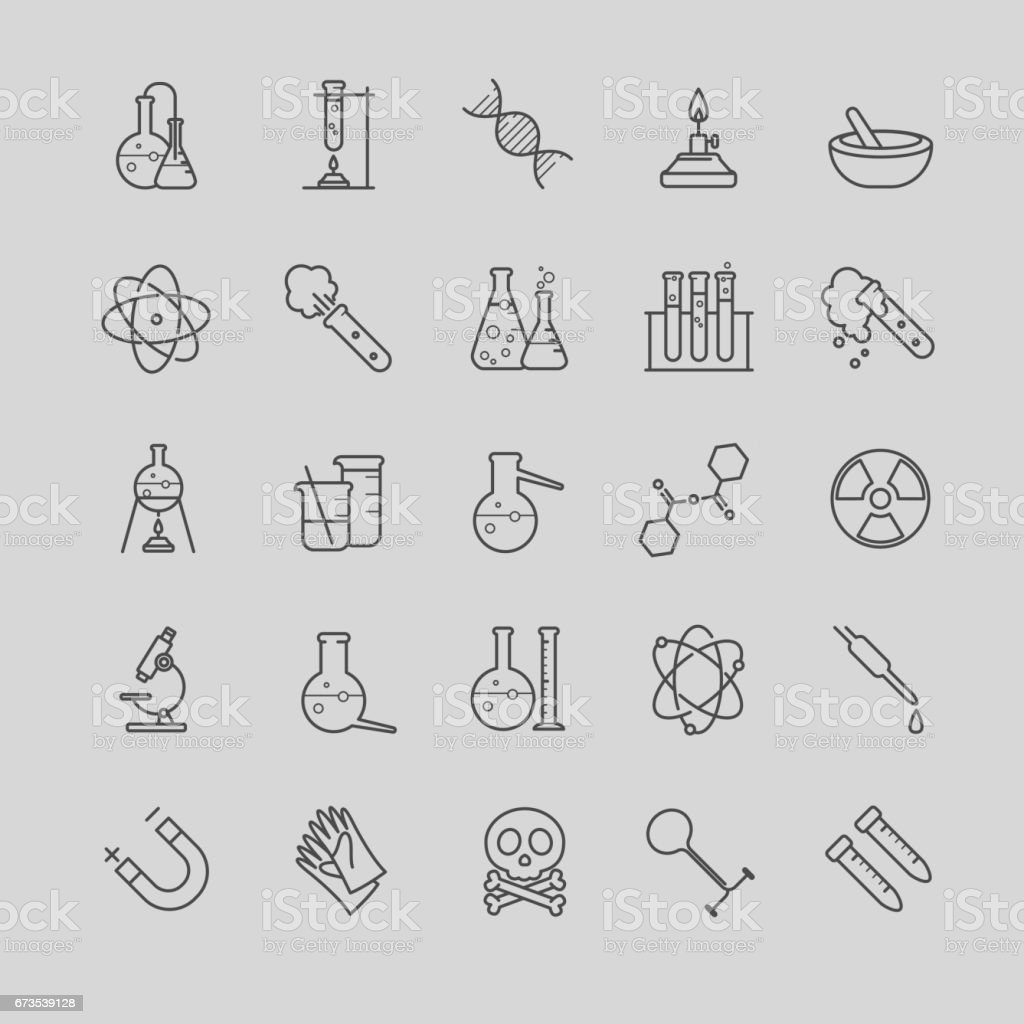 Thin line chemistry icons set royalty-free thin line chemistry icons set stock vector art & more images of art