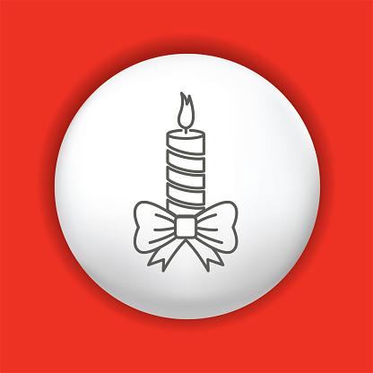 Thin Line Christmas Icon On Shiny Button