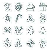 Thin Line Christmas Icons - Illustration