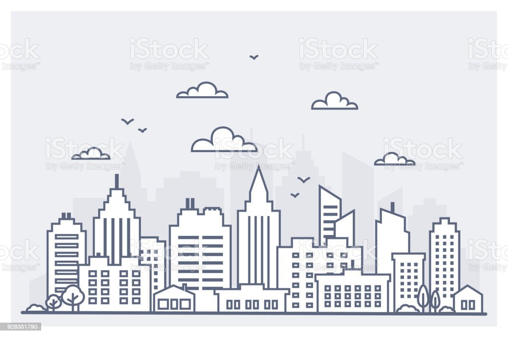 Thin line City landscape. Downtown landscape with high skyscrapers. Panorama architecture City landscape template. Goverment buildings Isolated outline illustration. Urban life vector art illustration