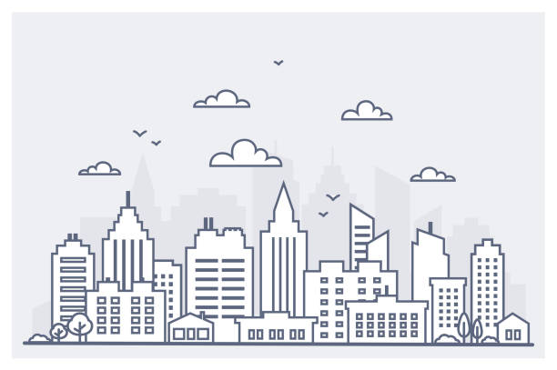 thin line city landscape. downtown landscape with high skyscrapers. panorama architecture city landscape template. goverment buildings isolated outline illustration. urban life - architecture silhouettes stock illustrations