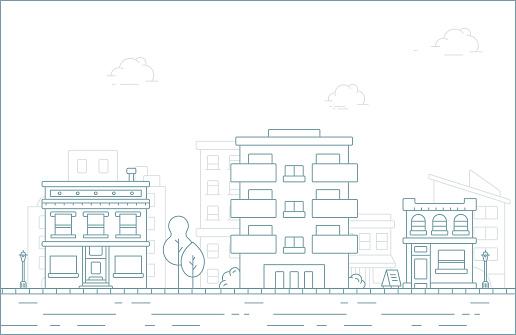 Thin line City landscape.