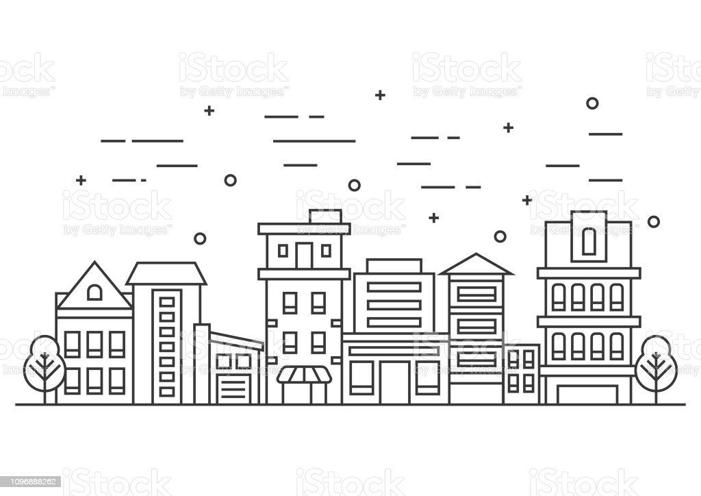 Thin line city landscape with trees. Flat design vector illustration royalty-free thin line city landscape with trees flat design vector illustration stock illustration - download image now