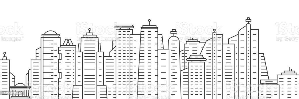thin line city panoramic view on white background - Grafika wektorowa royalty-free (Abstrakcja)