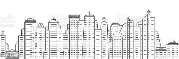 Cienka Linia Miasto Panoramiczny Widok Na Białym Tle - Stockowe grafiki wektorowe i więcej obrazów Panorama miasta