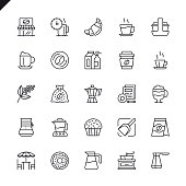 Thin line coffee, coffee house, coffee shop elements icons set for website and mobile site and apps. Outline icons design. 48x48 Pixel Perfect. Linear pictogram pack. Vector illustration.