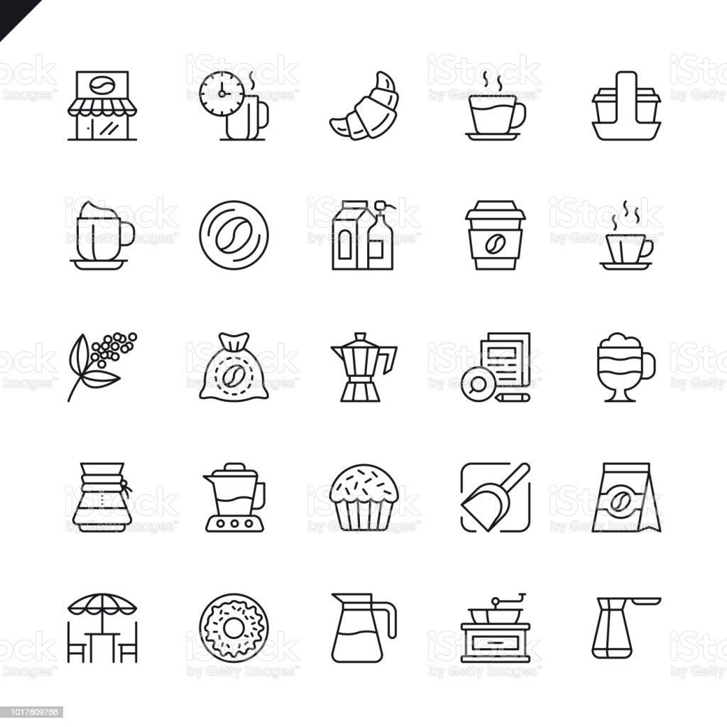 Línea fina café, café, conjunto de iconos de elementos de cafetería - ilustración de arte vectorial