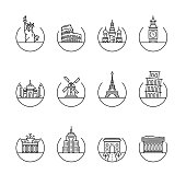 Most popular twelve landmarks of the world designed as Vector Illustration. Unique Style of Thin Line Icons created for multi purpose.