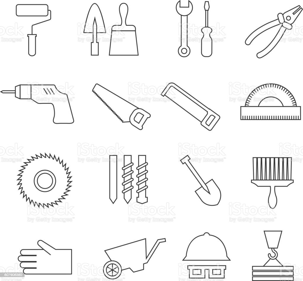 thin line construction tools home repair vector icons toolkit