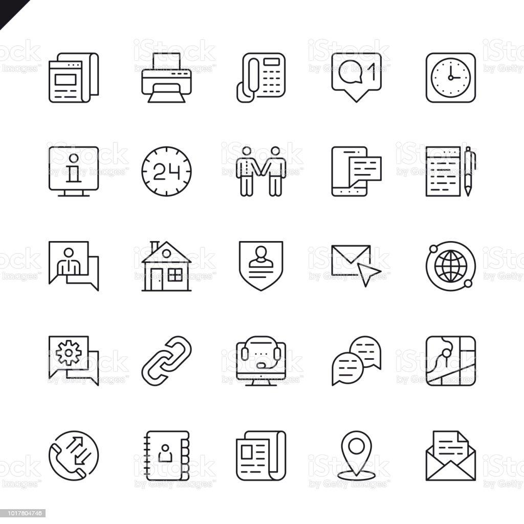 Línea delgada en contacto con nosotros conjunto de iconos - ilustración de arte vectorial
